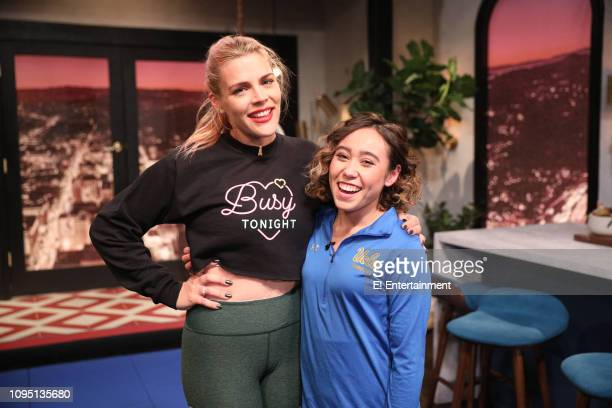 Episode 1051 -- Pictured: Host Busy Philipps and guest Katelyn Ohashi on the set of Busy Tonight --