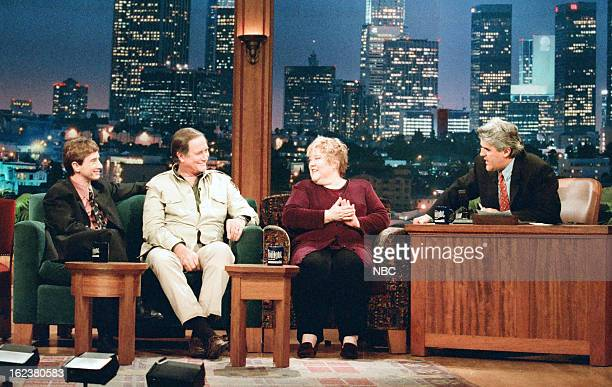 Actor Martin Short zoologist Jim Fowler and actress Kathy Kinney with host Jay Leno during an interivew on December 13 1996