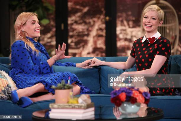 Host Busy Philipps and guest Michelle Williams on the set of Busy Tonight