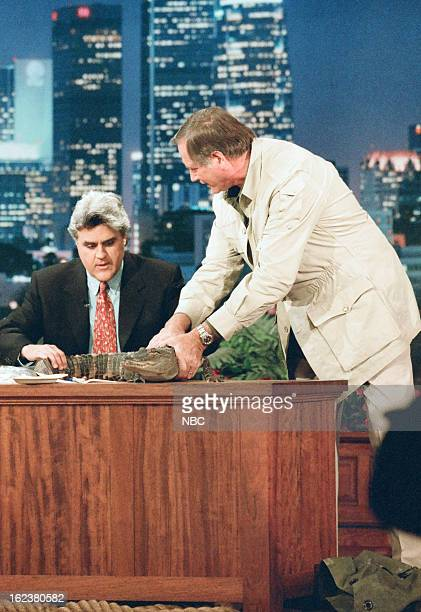 Host Jay Leno with zoologist Jim Fowler during an interview on December 13 1996