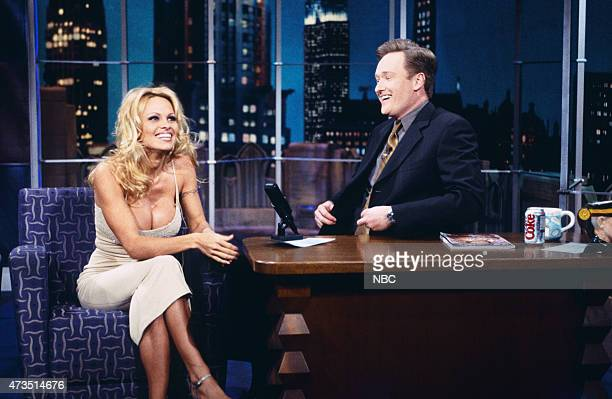 Episode 1053 -- Pictured: Actress Pamela Anderson during an interview with host Conan O'Brien on February 5, 1999 --