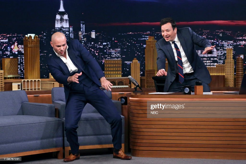 "NY: NBC'S ""Tonight Show Starring Jimmy Fallon"" With Guests Nathan Lane, Pitbull, Philippe Cousteau, Lenny Marcus"