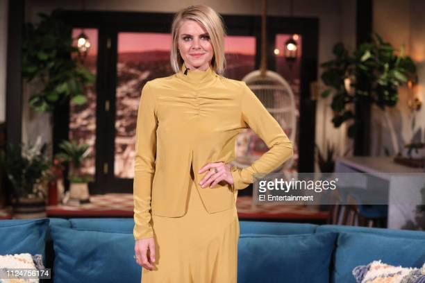 Guest Eliza Coupe on the set of Busy Tonight