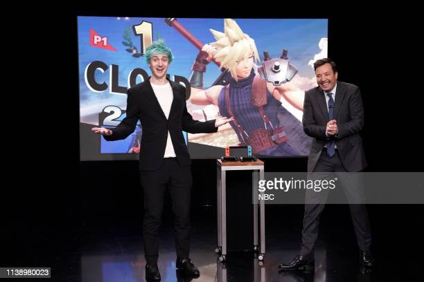 """Episode 1054 -- Pictured: Video Game Streamer Tyler """"Ninja"""" Blevins and host Jimmy Fallon play """"Super Smash Bros"""" during an interview on April 23,..."""