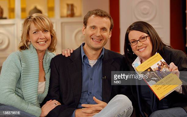 Authors Monica Horan and Phil Rosenthal during an interview with host Megan Mullally on December 4 2006