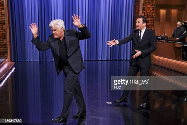 Comedian Jay Leno as The Angry Guy I Saw On The Street and host Jimmy Fallon during the Monologue on April 25 2019
