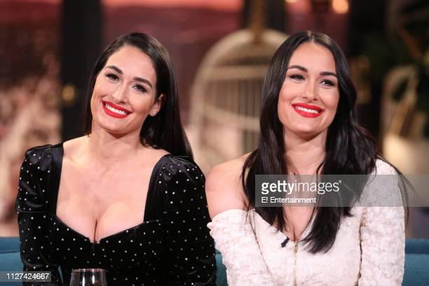 Guest Nikki Bella and guest Brie Bella on the set of Busy Tonight