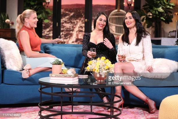 Host Busy Philipps guest Nikki Bella and guest Brie Bella on the set of Busy Tonight