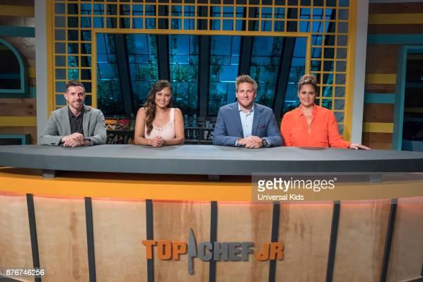 Episode 106 -- Pictured: Guest Chef Joshua John Russell, Host Vanessa Lachey, Head Judge Curtis Stone, Guest Judge Antonia Lofaso --