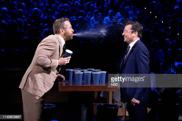 Actor Ryan Reynolds and host Jimmy Fallon play Spit Take Roulette on May 2 2019