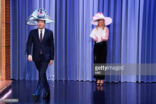 Episode 1061 -- Pictured: Host Jimmy Fallon and model Rosie Huntington-Whiteley wear Kentucky Derby hats during their interview on May 2, 2019 --