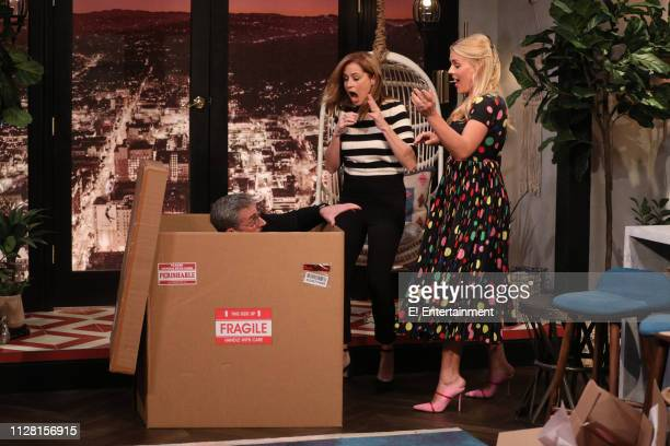 Episode 1062 -- Pictured: Guest Steve Carell, guest Jenna Fischer, and host Busy Philipps on the set of Busy Tonight --