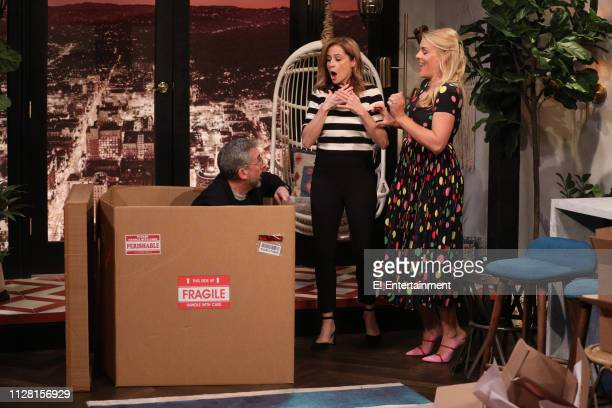 Guest Steve Carell guest Jenna Fischer and host Busy Philipps on the set of Busy Tonight