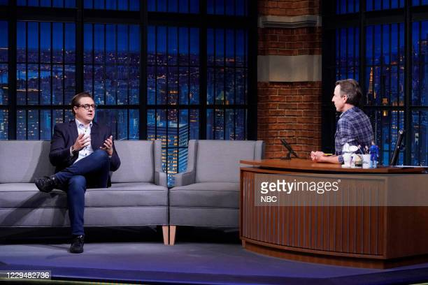 Episode 1062A -- Pictured: Chris Hayes talks with host Seth Meyers on November 5, 2020 --