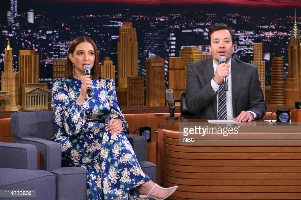 """Episode 1064 -- Pictured: Actress Maya Rudolph and host Jimmy Fallon during """"Build A Band"""" on May 8, 2019 --"""