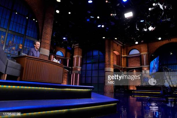 Episode 1067A -- Pictured: Host Seth Meyers talks with actress Kaley Cuoco on November 16, 2020 --