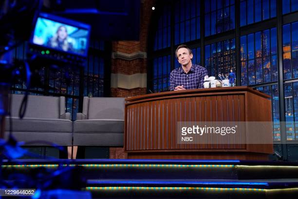 Episode 1067A -- Pictured: Host Seth Meyers talks with Kaley Cuoco on November 16, 2020 --