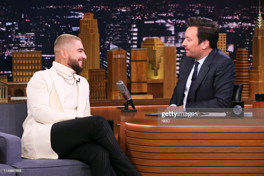 "NY: NBC's ""Tonight Show Starring Jimmy Fallon"" With Guests Jeff Daniels, Jamie Foxx and Corinne Foxx, Maluma, MALUMA"