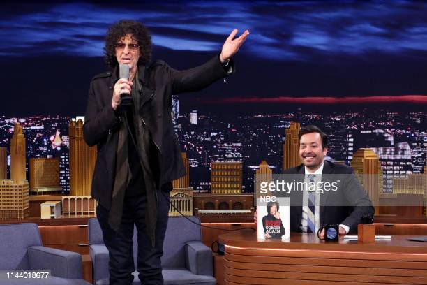 Episode 1069 -- Pictured: Radio Personality Howard Stern and host Jimmy Fallon during a Times Square live stream of their interview on May 15, 2019 --
