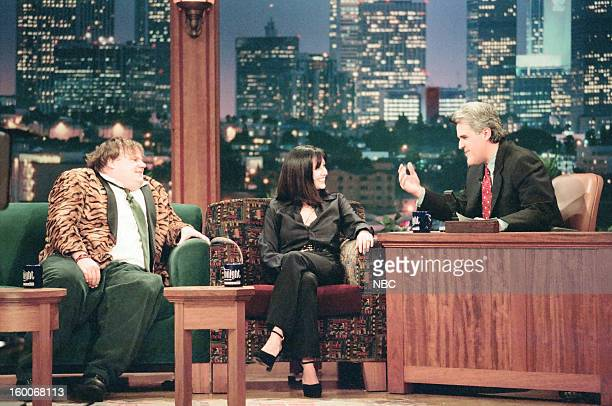 Comedian Chris Farley actress Shannen Doherty during an interview with host Jay Leno on January 10 1997