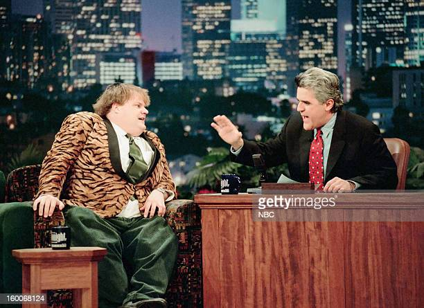 Comedian Chris Farley during an interview with host Jay Leno on January 10 1997