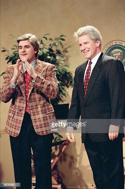 Host Jay Leno Phil Hartman as Bill Clinton during a skit on January 10 1997