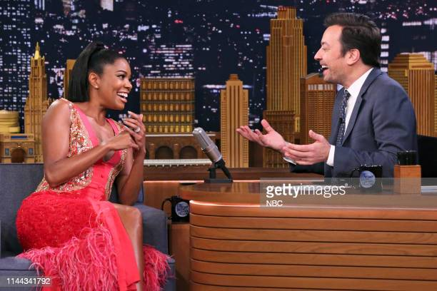 Episode 1071 -- Pictured: Actress Gabrielle Union during an interview with host Jimmy Fallon on May 17, 2019 --