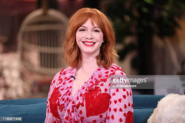 Guest Christina Hendricks on the set of Busy Tonight