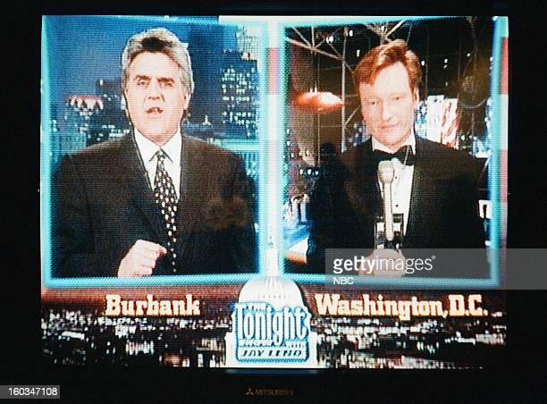Episode 1071 -- Pictured: Host Jay Leno talks to Conan O'Brien on January 20, 1997 --