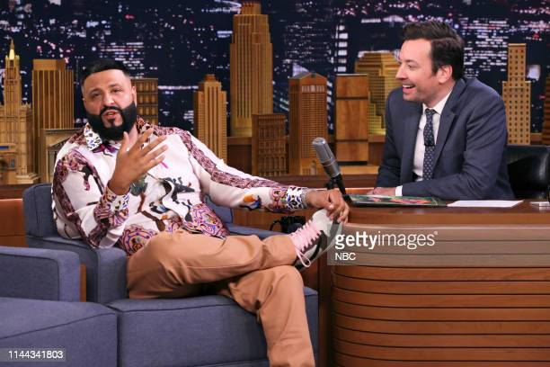 Episode 1071 -- Pictured: Record producer DJ Khaled during an interview with host Jimmy Fallon on May 17, 2019 --