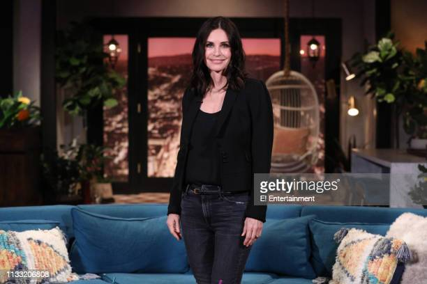 Guest Courteney Cox on the set of Busy Tonight