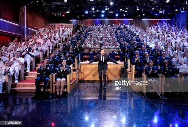 Episode 1075 -- Pictured: Host Jimmy Fallon with the audience of servicemen and servicewomen on May 23, 2019 --
