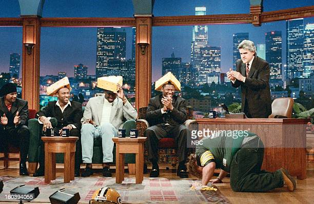 Actor Damon Wayans NFL football players Andre Rison Edgar Bennett Sean Jones Comedian Chris Farley during an interview with host Jay Leno on January...
