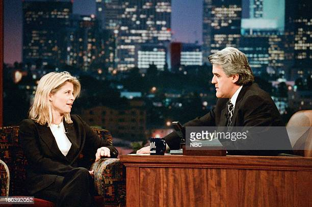 Episode 1076 -- Pictured: Actress Linda Hamilton during an interview with host Jay Leno on January 27, 1997 --
