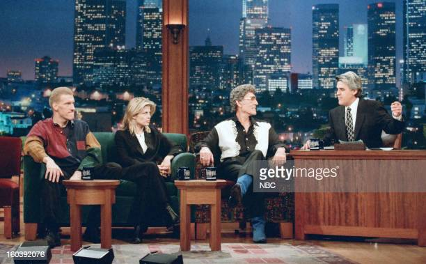 Episode 1076 -- Pictured: Comedian Don McMillan, actress Linda Hamilton, Musical guest Carl Perkins during an interview with host Jay Leno on January...