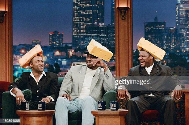 NFL football players Andre Rison Edgar Bennett Sean Jones during an interview on January 28 1997