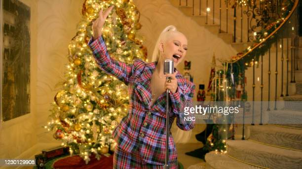 Episode 1079A -- Pictured in this screen grab: Musical guest Christina Aguilera performs on December 14, 2020 --