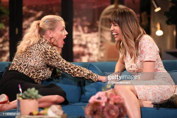 Episode 1080 -- Pictured: Host Busy Philipps and guest Natalie Morales on the set of Busy Tonight --