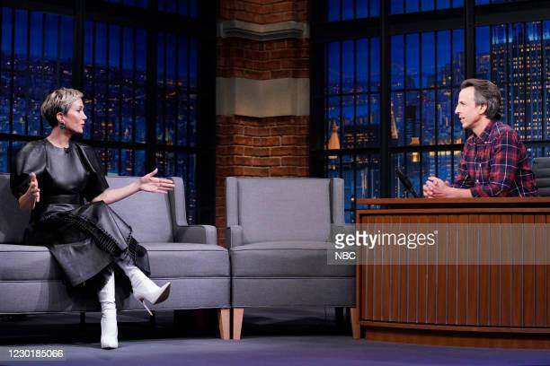 Episode 1082A -- Pictured: Actress Kristen Wiig talks with host Seth Meyers on December 17, 2020 --