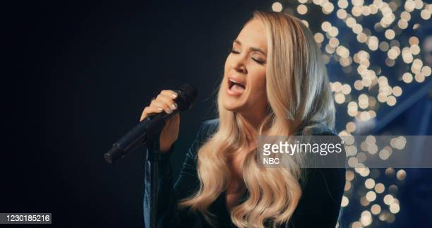 Episode 1082A -- Pictured in this screen grab: Musical guest Carrie Underwood performs on December 17, 2020 --