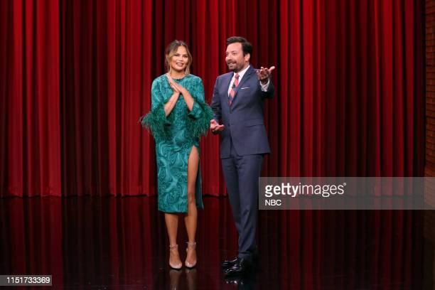 Television personality Chrissy Teigen and host Jimmy Fallon during Can You Feel It on June 24 2019