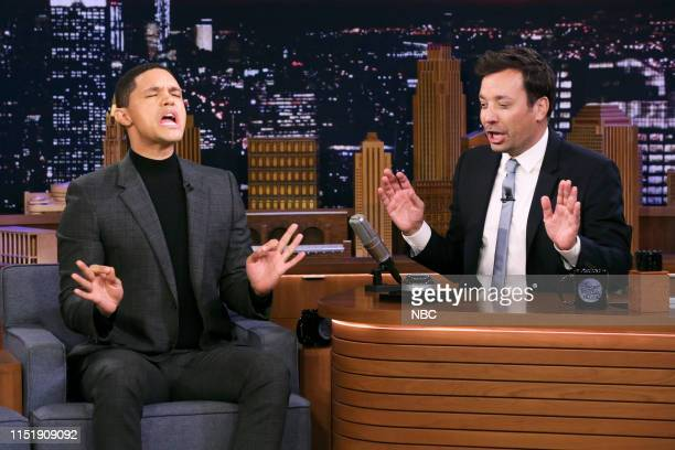 Comedian Trevor Noah and host Jimmy Fallon during Wheel of Political Impressions on June 25 2019
