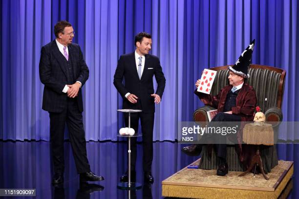 Episode 1087 -- Pictured: Magicians Penn & Teller perform a magic trick for host Jimmy Fallon on June 25, 2019 --