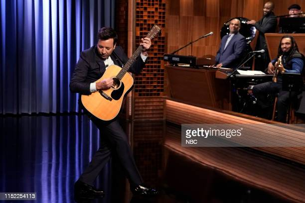 Host Jimmy Fallon sings Don't Become A Meme during the monologue on June 26 2019