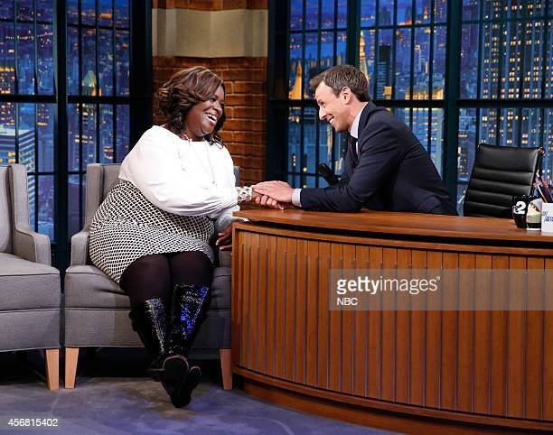 Episode 109 -- Pictured: Actress Retta during an interview with Seth Meyers on October 7, 2014 --