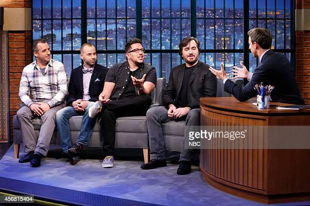 The Impractical Jokers Joseph 'Joe' Gatto James 'Murr' Murray Salvatore 'Sal' Vulcano Brian 'Q' Quinn during an interview with host Seth Meyers on...
