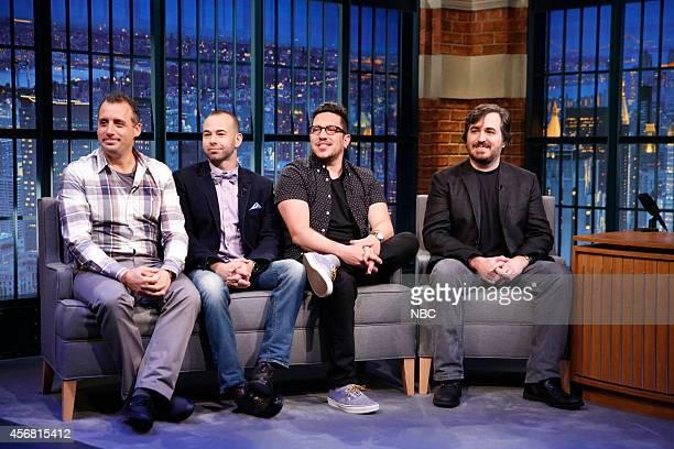 The Impractical Jokers Joseph 'Joe' Gatto James 'Murr' Murray Salvatore 'Sal' Vulcano Brian 'Q' Quinn during an interview on October 7 2014