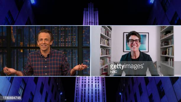 Episode 1092A -- Pictured in this screen grab: Host Seth Meyers talks with MSNBC's Rachel Maddow on January 19, 2021 --