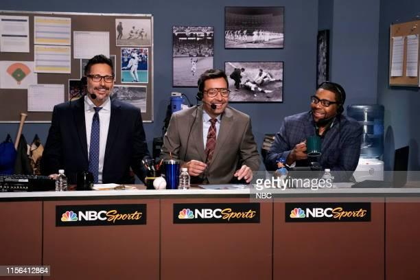 Actor Joe Manganiello host Jimmy Fallon and comedian Kenan Thompson during Mad Lib Theater on July 18 2019
