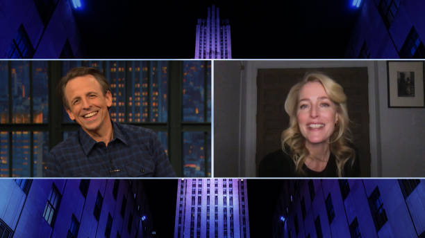 "NY: NBC'S ""Late Night with Seth Meyers"" With Guests Gillian Anderson, Kate Flannery, BARTEES STRANGE"